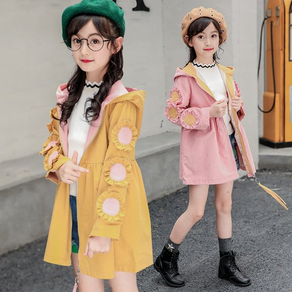 2019 fashion outer clothing kids clothes 12 years old hooded girls Flower trench coat
