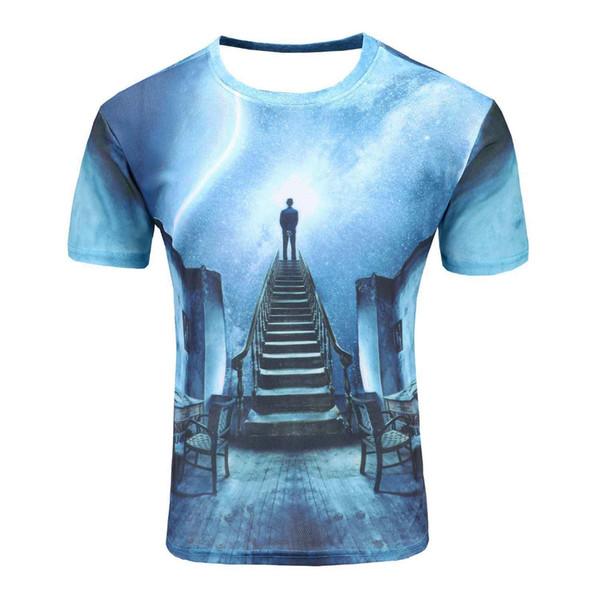 Space Galaxy T-shirt Para Hombres / mujeres camiseta 3d Impresión Divertida Gato Caballo Tiburón Moda de Dibujos Animados Verano Camiseta Tops Tees Wholesale