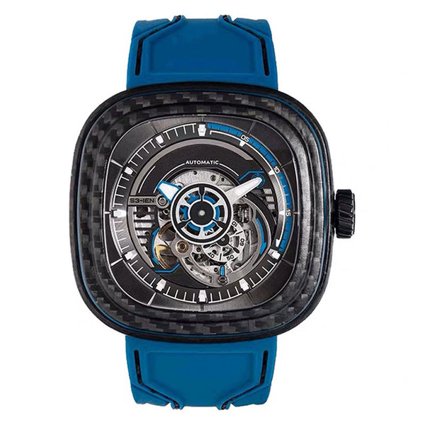 Sevenfriday fashion blue silica gel watch size 47mm black carbon fiber square dial S201 automatic mechanical waterproof men's watch