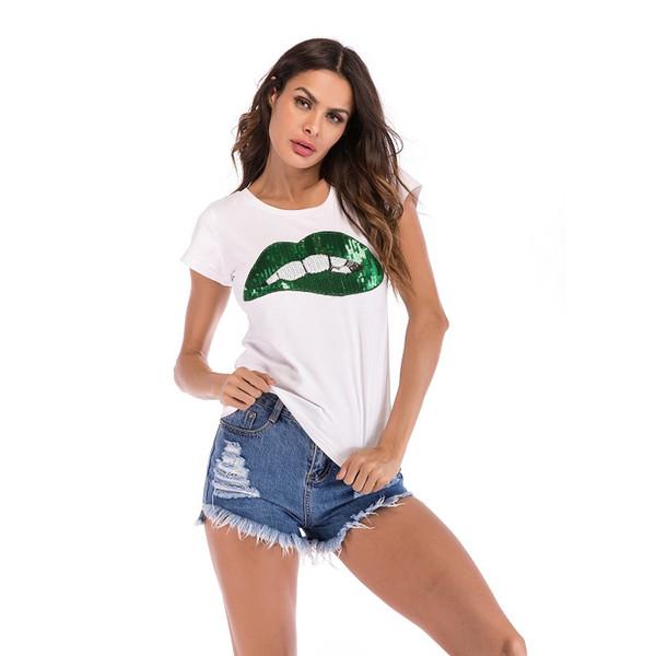 Einfaches T-Shirt mit rundem Kragen und kurzen Ärmeln für Damen mit großer Lippenstickerei Designer Brand T-Shirts Kurzarmbluse für Damen