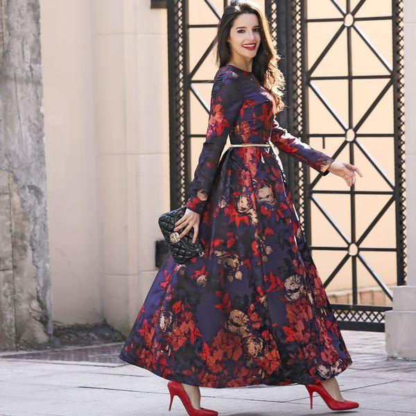 Plus Size S-3XL New Designer Maxi Dress Party Women Long Sleeve full length Gorgeous Floral Jacquard Long Autumn Winter Dress T5190614