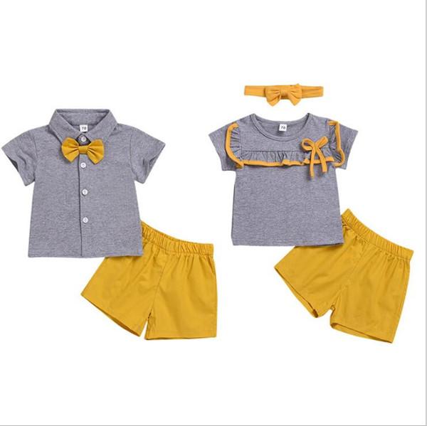 Crianças Roupas de Grife Família Roupas Combinando Irmão Irmã Ternos Do Bebê de Verão de Manga Curta Tops Bowtie T-shirt Shorts Calças Headband B5468