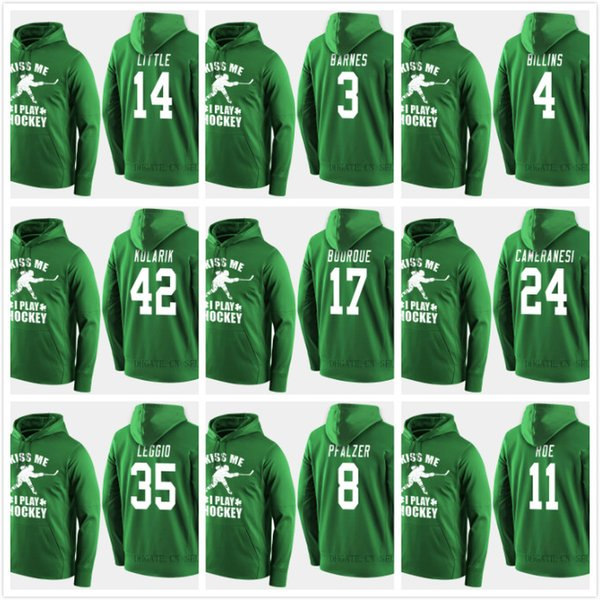 2019 USA Team Hockey Hoodies Jerseys Custom Green St. patricks Day Kiss Me Funny Player Sweatershirt 14 Broc Little 3 Cayla Barnes Bourque