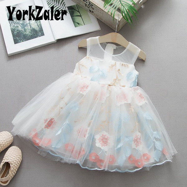 Yorkzaler Kids Princess Dress For Girl Sleeveless Embroidery Floral Girl Wedding Dresses Summer Fashion Baby Clothes 18M-4Y SH190912