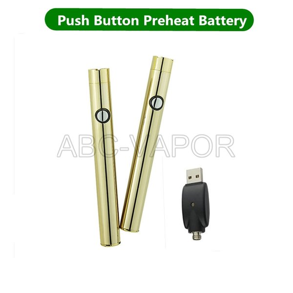 Push Button Battery o pen preheat 510 Gold Variable Voltage cartridge battery with USB charger for vape cartridge