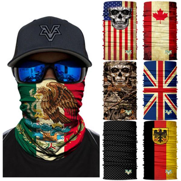 66 estilos mexicano bandeira nacional crânio sem costura 3d magia lenço de equitação equitação máscara coleira protetor solar máscara de camuflagem de pesca zza891 100 pcs