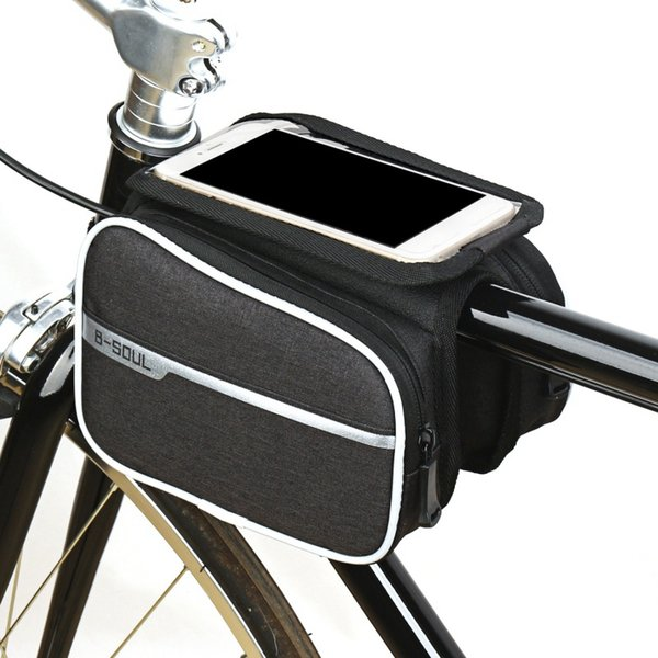 Bicycle Bag Outdoor Cycling Bicycle Frame Pouch Front Tube Bag Double Pack With Cell Phone Waterproof Sensitive Touch Screen