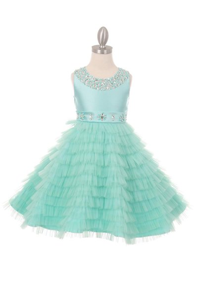 Bright Pink Gray Green Layers Tea Flower Girl Dresses Princess Dresses Girl's Pageant Dresses Custom Made Size 2-6 8 10 12 14 F404436