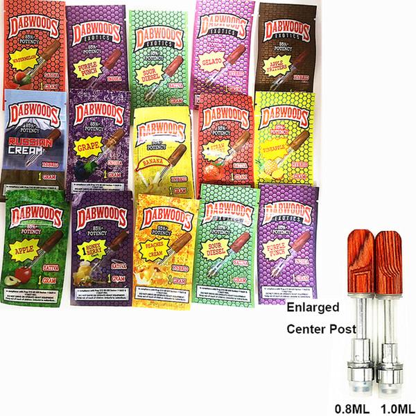 Dabwoods Vape cartuchos cerámicos bobina Vape Carros de 13 sabores de madera Tip atomizadores E-cigarrillos 510 de rosca 0,8 ml 1,0 ml de tanque vacío