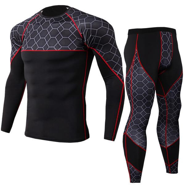 Mens Running Sportswear Suit Compression Tight T Shirt/pants Set Jogging Sport Tracksuits Male Gym Training Sportswear Leggings