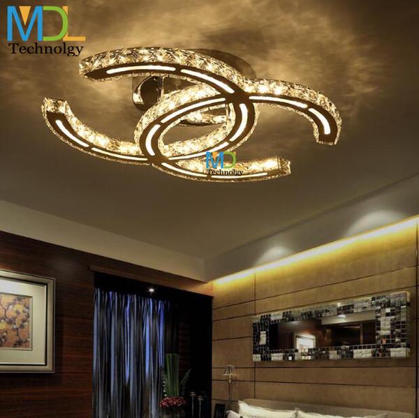 15W 18W 35W 48W LED Candelabros de cristal Montado en el techo Iluminación K9 moderna Lámparas colgantes para sala de estar Comedor