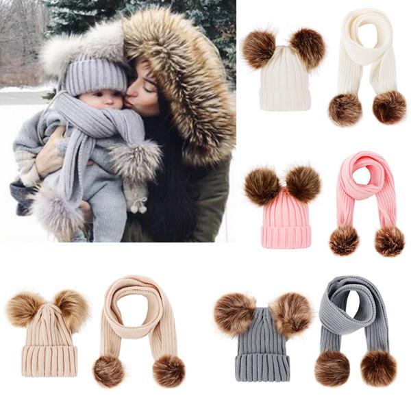 Детские Knit Hat и шарф наборы Дети шерсти зимы теплый Pom Hat Solid Beanie лыжную шапочку шарф Kit Xmas карнавальные шляпы 5 цветов HH9-2420