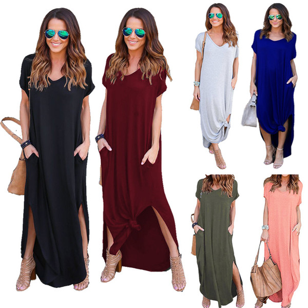 Women summer dresses clothes Casual Pocket Long Skirts Short Sleeve Split Loose Maxi Dresses Solid color Sexy Beach Party Dress Plus size