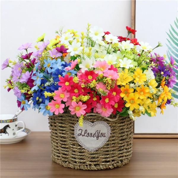 1 Buket 7 Şube 28 Kafaları Sevimli Ipek Papatya Yapay Dekoratif Çiçek Düğün Çiçek Buketi Ev Odası Masa Dekorasyon