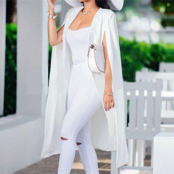Bayanlar Blazers Coat Katı Gevşek Uzun Pelerin Blazer Ceket Pelerin Hırka Ceket Siper Giyim blazer longo feminino 2019 16 # 30
