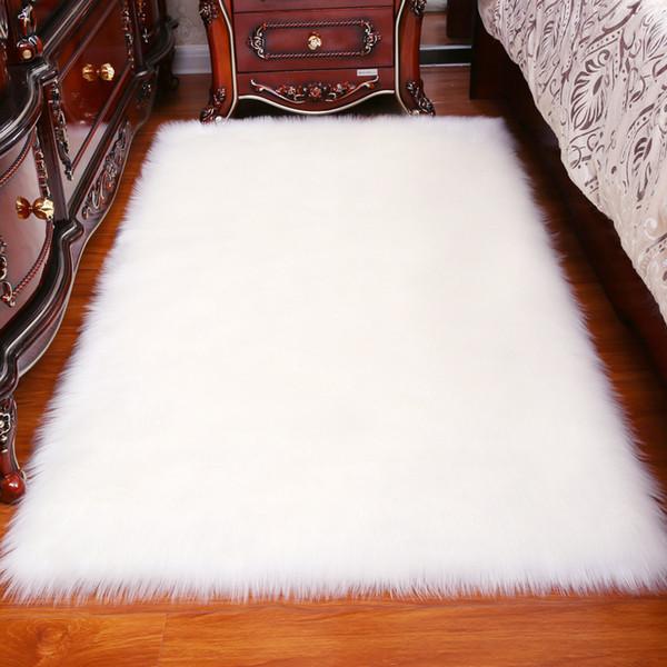 Longo Cabelo Sólido Tapete Sala de estar Deco Artificial Retângulo Macio Mat Pad Anti-Slip Cadeira Tampa Do Sofá Tapetes de Área Plana