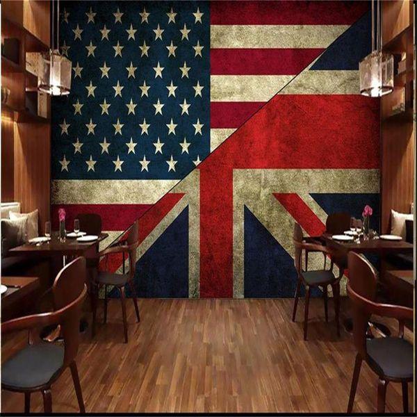 Custom Size 3d Photo Wallpaper Living Room Mural Us Flag British Flag Bar Background 3d Picture Sofa Tv Backdrop Wallpaper Non Woven Sticker
