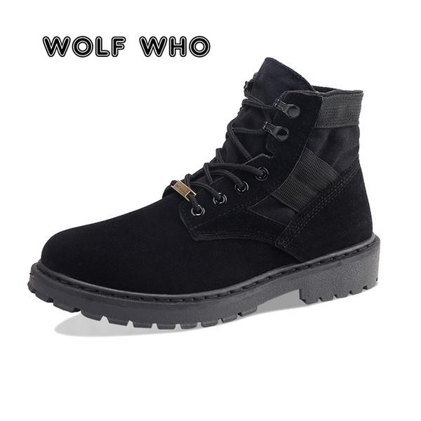 KURT WHO Yeni Sonbahar Kış Erkek Bot Tuval Bilek Boots Erkek Yüksek Cut gündelik Ayakkabı Ayakkabı Zapatos Hombre Karşıtı patinaj
