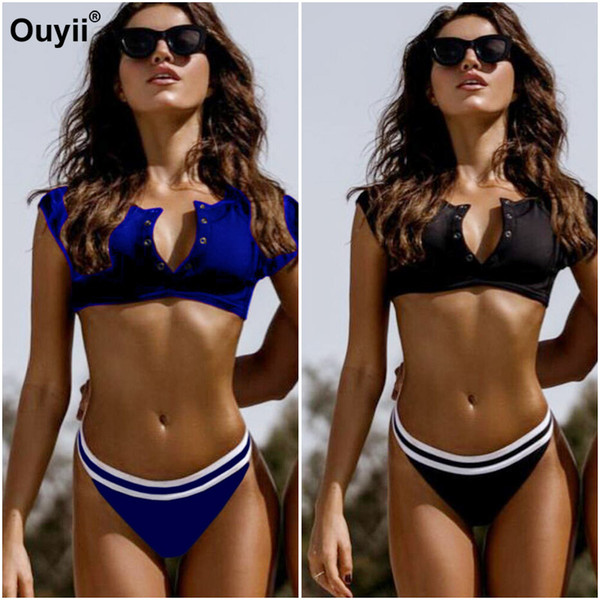 Bikini Half Sleeve Dark Buckle Split Swimsuit Solid Color Sexy Swimsuit Bikini 2019 New Low Waist Swimwear