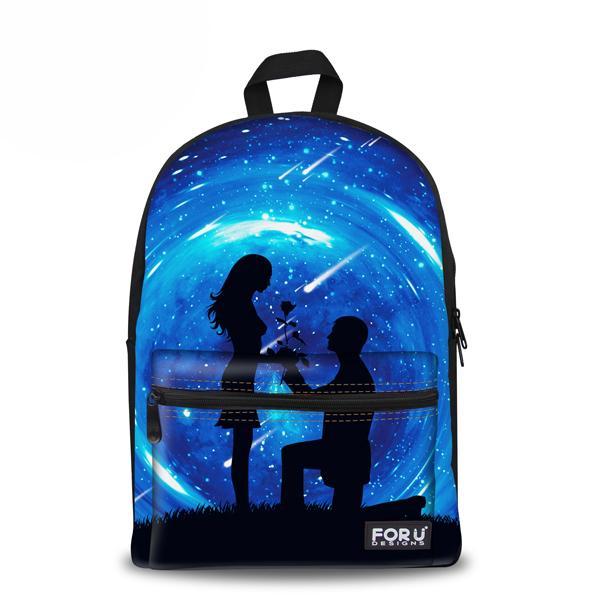 Estilo coreano para niños Galaxy School Mochilas Impresión de la lona de la vendimia Mochila para mujer Adolescente paquete de la venta al por menor