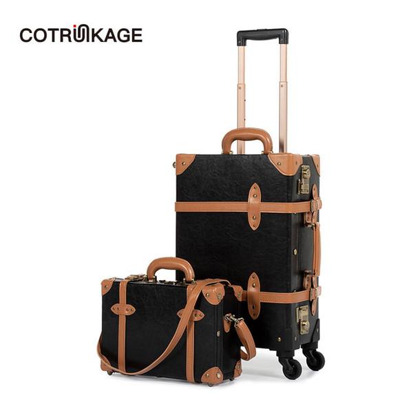 COTRUNKAGE Maleta TSA Lock Maleta vintage Maleta enrollada de cuero negro de la pu Juego de equipaje de 2 piezas con caja de cosméticos de 13