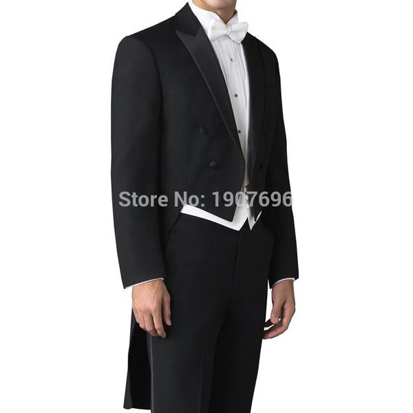 Özel Yapılmış Düğün Adam Kuyruk Ceket Damat Takım Elbise için Kruvaze 3 Parça Set Siyah Ceket Pantolon Beyaz Yelek Balo Mens için Sahne