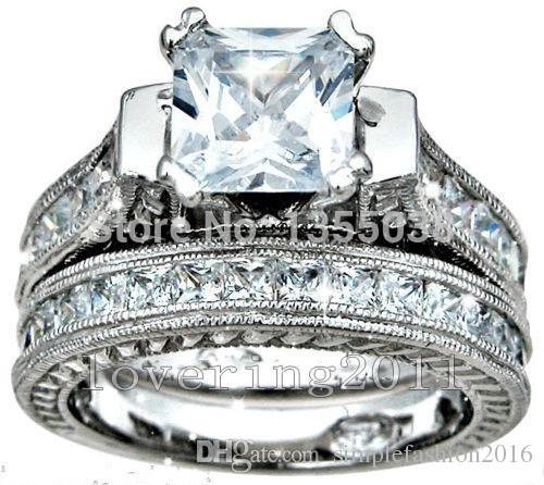 Fashion Jewelry Antique 2ct princess cut 5A Zircon stone 14KT White Gold Filled 2-in-1 Engagement Wedding Ring Set Size 5-11