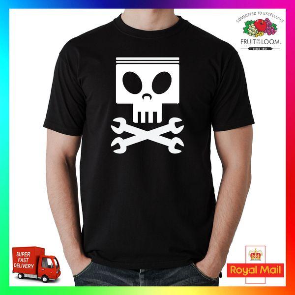 Pistão Crânio Chaves Spanners Engenheiro Mecânico TShirt Camiseta T-Shirt Tee Presente Engraçado Carro Engraçado frete grátis Unisex Casual Tshirt