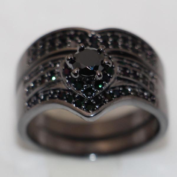 Go888Store Moda Amor Simulado Diamante CZ Noivado de Casamento Anel de Dedo Para As Mulheres Define 10KT Preto de ouro cheia de Jóias de Noiva