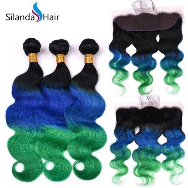 Silanda Saç Öncesi Renkli Ombre # T 1B / Mavi / Yeşil Vücut Dalga Remy İnsan Saç Örgüleri Ile 3 Demetleri 13
