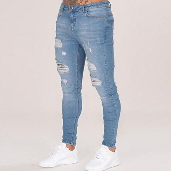 Cotton Jean Men's Pants Vintage Hole Cool Trousers for Guys Summer Europe America Style ripped jeans men