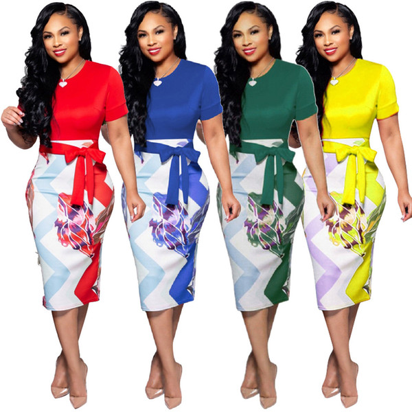Women Pencil Dress Short Sleeve Printed Patchwork Belted Slim Bodycon Midi Work Office Party Dress