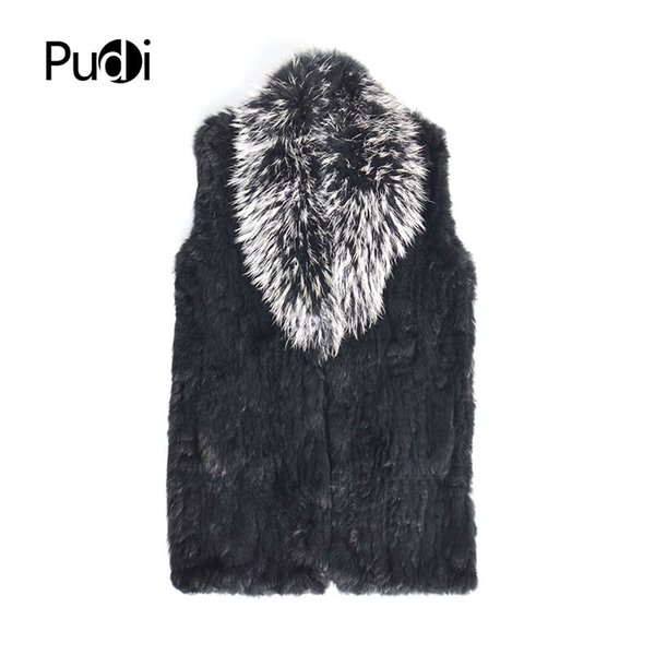 Pudi VT808 The new women vest Real Knitted Rabbit Fur Vest With Pocket Raccoon Fur Collar Waistcoats Women