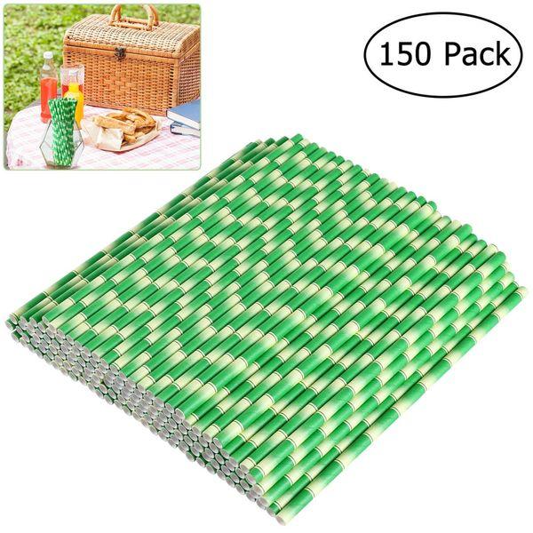 150pcs Biologisch abbaubare Papierstrohe Bambus Trinkhalme für Party-Getränke