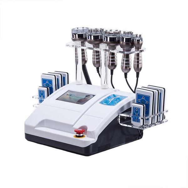 6 em 1 máquina ultra-sônica do RF da cavitação da lipoaspiração 40K 8 almofadas rejuvenescimento da pele do RF do vácuo da máquina do emagrecimento do laser de 650NM Lipo