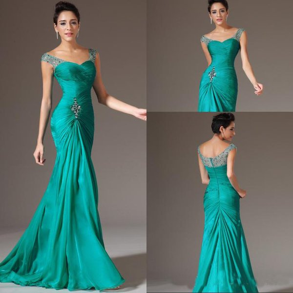 Gorgeous Mermaid V-neck Floor Length Turquoise Chiffon Cap Sleeve Prom Dresses Beaded Pleats Discount Prom Gowns Formal Evening Dresses