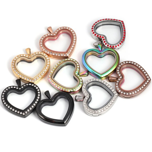 Floating Charms Locket Heart Shape 316L Stainless Steel Locket Glass living Memory Lockets Pendant
