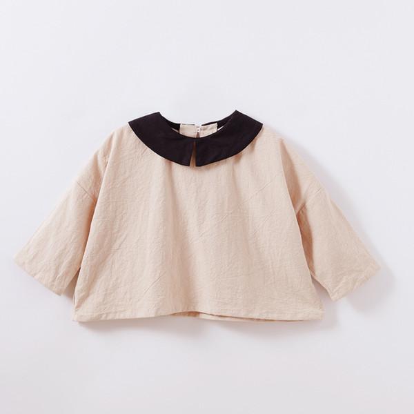 2019 Yeni Bahar Bebek Kız Bluz Batwing Kollu Keten Gömlek Kızlar Gevşek Stil Moda Kız Elbise Ücretsiz Drop Shipping Tops