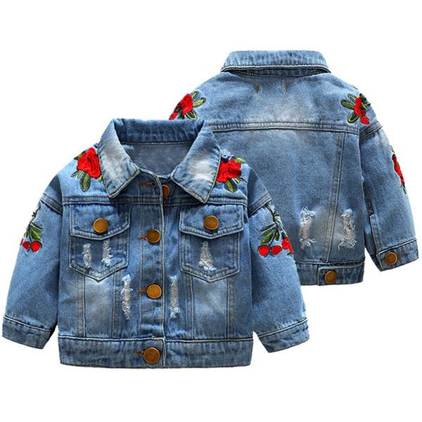 Toddler Baby Girl Long Sleeve Rose Embroidery Windproof Hole Denim Coat Outwear Children Girl Fashion Denim Jacket Autumn