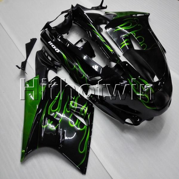 Screws+8Gifts green flames motorcycle cowl for Kawasaki ZX11R ZZR1100 1992 1993 1994 1995 1996 1997 1998 1999 2000 2001 ABS motor Fairing