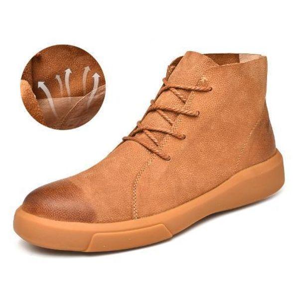 4a6cc9dad49 Charm2019 Big 38-47 Marca Hombres Zapatos de Cuero Clásicos Cómodos Botines  de Cuero Genuino Lace Up Martin Boots Zapatillas Hombre