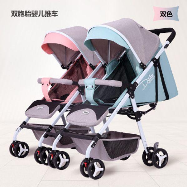 Çok fonksiyonlu ikiz bebek arabası hafif katlanır uzanmış uzanmış oturabilir oturmak ikiz arabası