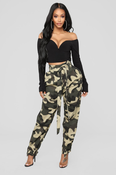 high quality cheapest price classic styles 2019 Summer Women'S Ladies Camo Cargo Pants High Waist Pants Casual Loose  Pants Military Combat Camouflage Jeans Pencil Pant Army Green From ...