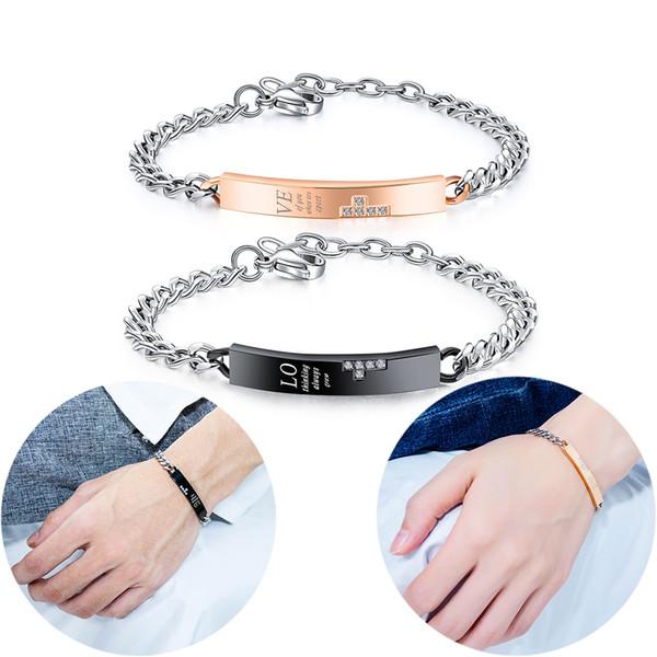 Black / Rose Gold Couple Bracelets Stainless Steel Cubic Zirconia Love Wristband Bracelet Women Men Charm Chain Cuff Bangle Anniversary Gift