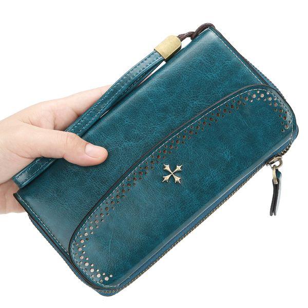 Wallet ladies hollow long zipper clutch bag 2019 creative Korean version of the multi-function mobile phone bag