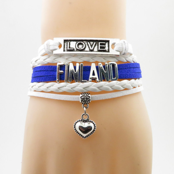 infinity love finland bracelet heart charm bracelet love finland country flag bracelets & bangles for woman and man jewelry