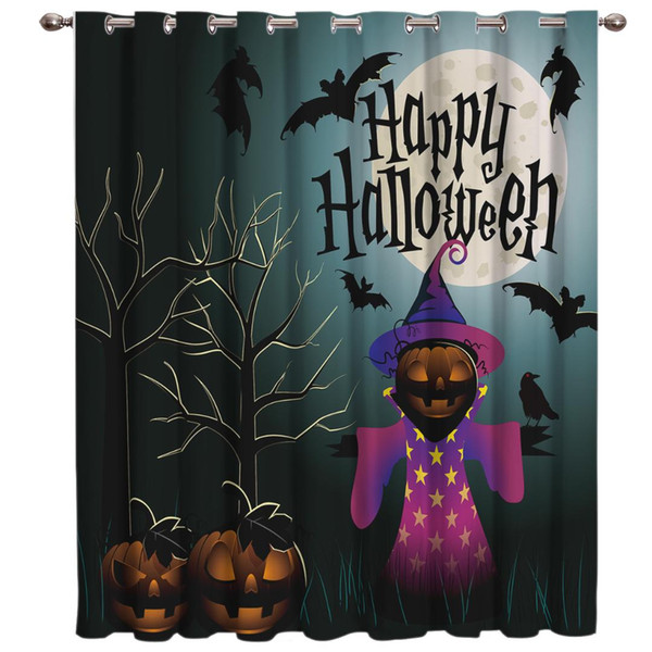 Happy Halloween Pumpkin Curtain Lights Outdoor Bedroom Indoor Fabric Print Decor Curtain Panels With Grommets Curtains And Drape