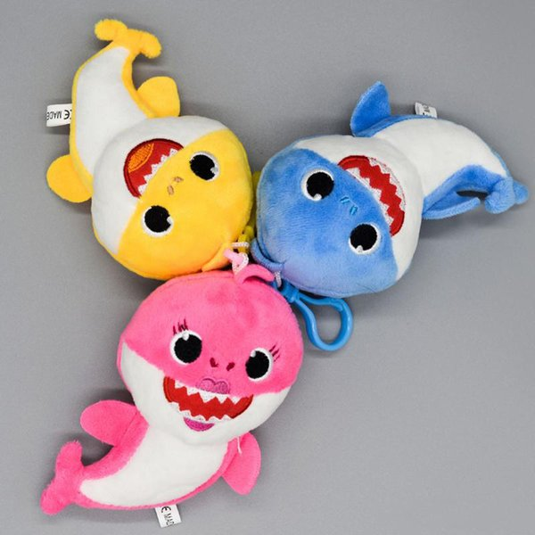 3 Color 13cm Baby shark Stuffed plush dolls pendant New Small size sharks Action Figure Keychain Toys Kids Christmas Party Best Gifts