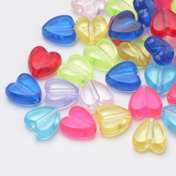 500g 8.5x8.5x4mm Transparent Acrylic Loose Plastic DIY Beads for Valentines, Heart, Mixed Color, Hole: 1mm; about 2840pcs/500g
