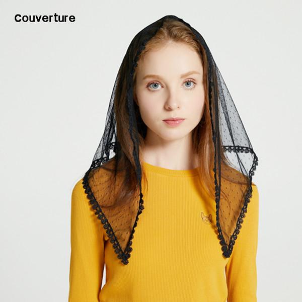 Couverture design Manteau De Mode Pour Femmes Mantilla Pour L'église Ivoire Dentelle Mantilla Voile Chapelle Catholique Mass Triangle foulard hijab